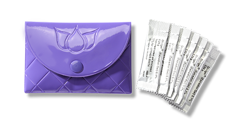 Discreet gel packet carrying case.