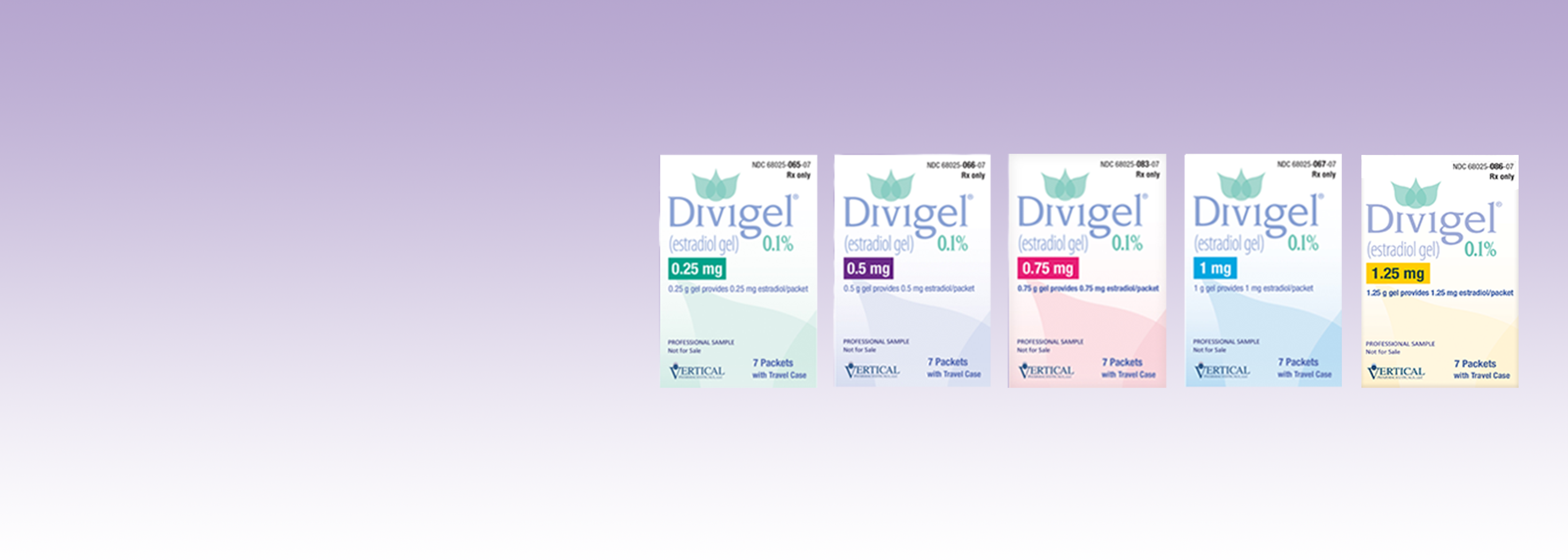 Divigel® comes in 0.25 mg, 0.5 mg, 0.75 mg, 1 mg and 1.25 mg.