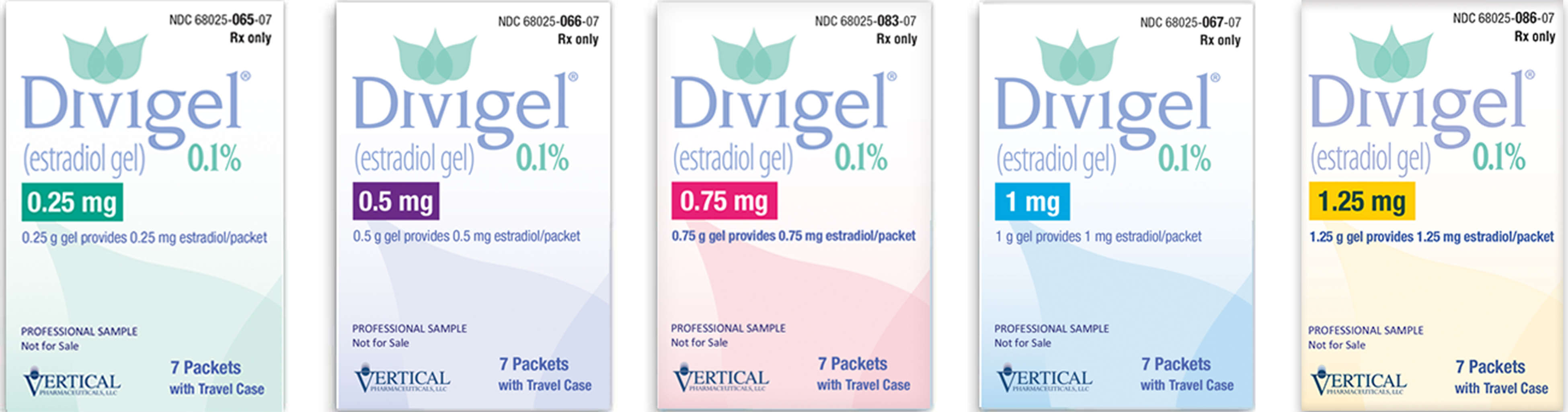 Divigel® comes in 0.25 mg, 0.5 mg, 0.75 mg, 1 mg, and 1.25 mg.